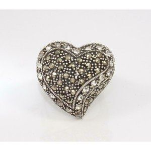 Sterling Silver Clear CZ Marcasite Heart Ring 6.25